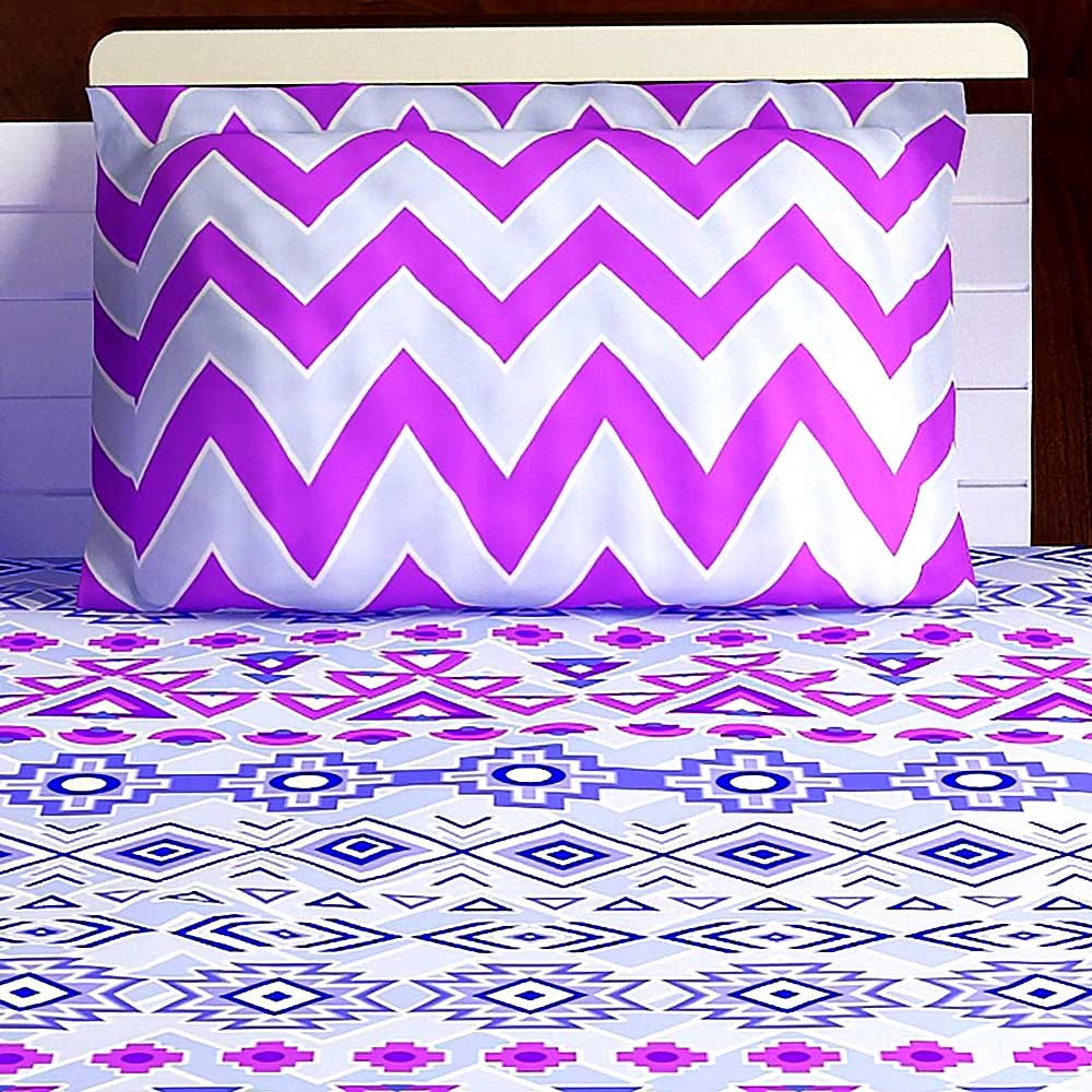 Bombay Dyeing Lavender Blue Abstract 120 TC Cotton Double 1 Bedsheet With 2 Pillow Covers