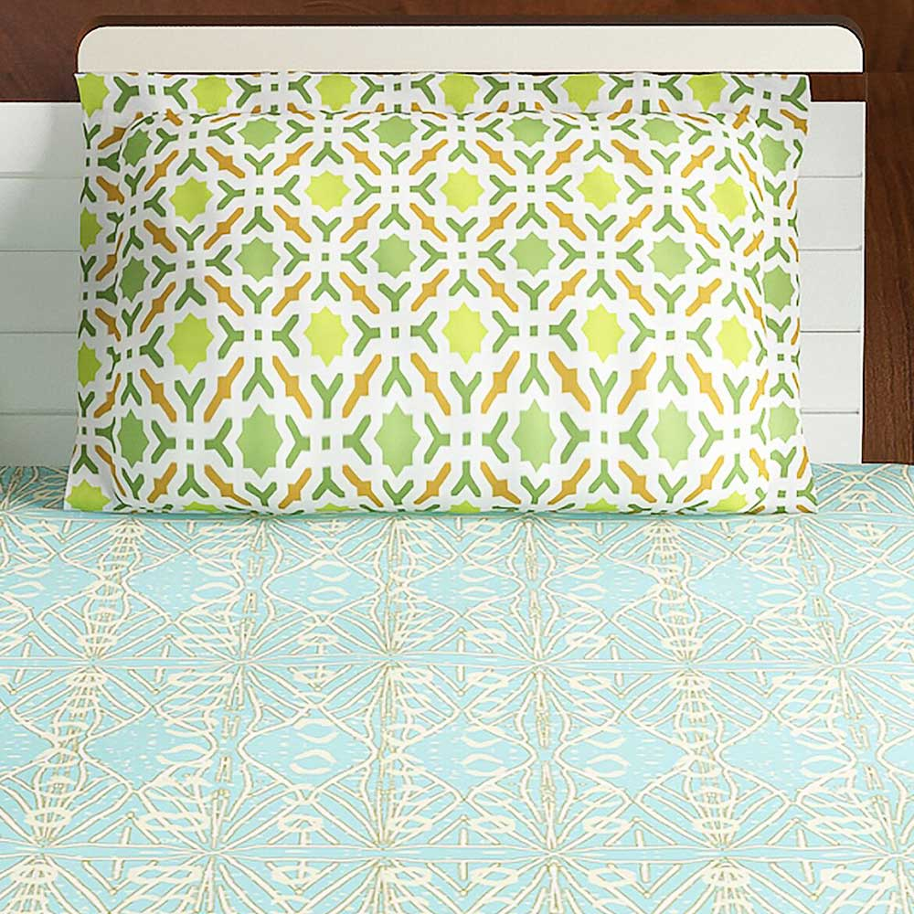 Bombay Dyeing Blue And Green Abstract 120 TC Cotton Double 1 Bedsheet With 2 Pillow Covers
