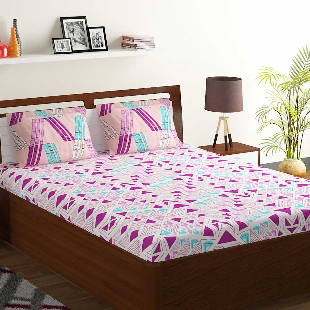 Bombay Dyeing Magenta And Peach Abstract 120 TC Cotton Double 1 Bedsheet With 2 Pillow Covers