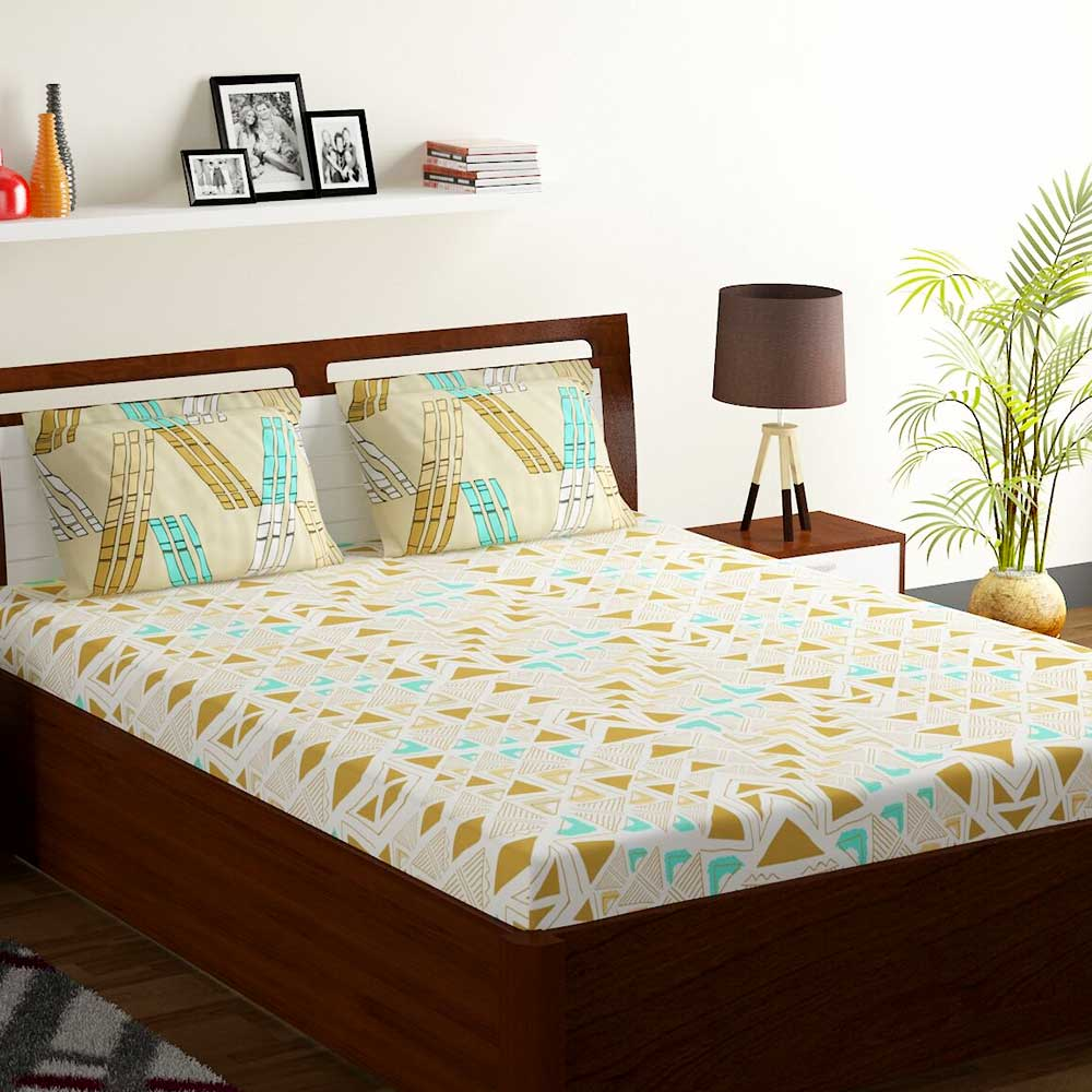 Bombay Dyeing Orchid Green Abstract 120 TC Cotton Double 1 Bedsheet With 2 Pillow Covers