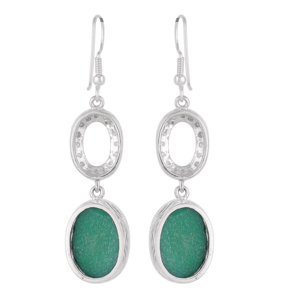 Long 92.5 Sterling silver Earrings Green Onyx Drop Earrings
