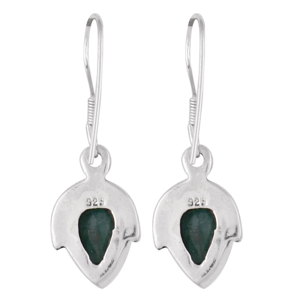 92.5 Sterling Silver Earrings Chrysoprase Drop Green Gem Stone