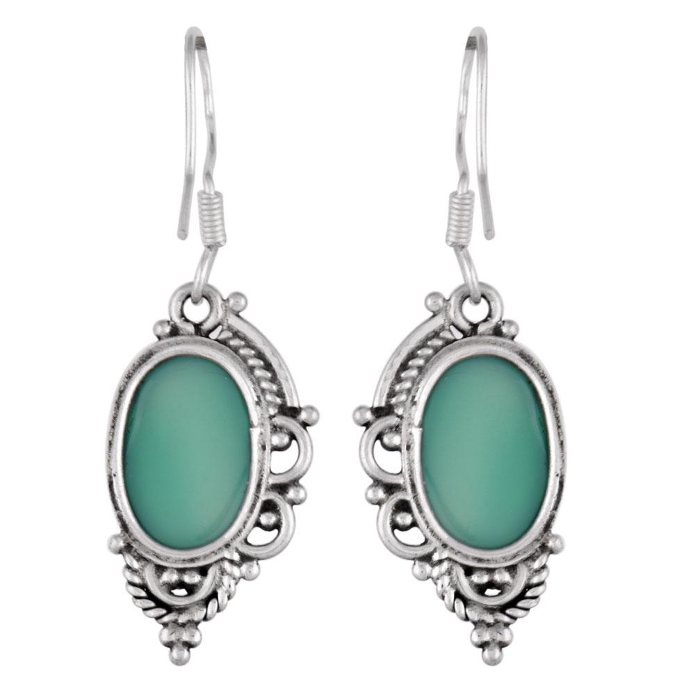 92.5 Sterling Silver Earings Half Design Oval Green Agate Earrings