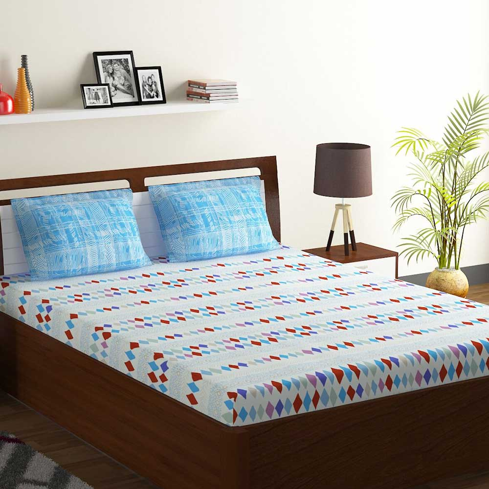 Bombay Dyeing Blue Colorful Geometric Design 120 TC Cotton Double 1 Bedsheet With 2 Pillow Covers
