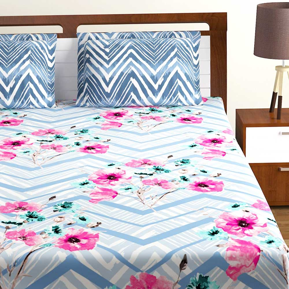 Bombay Dyeing Blue Pink Floral 120 TC Cotton Double 1 Bedsheet With 2 Pillow Covers