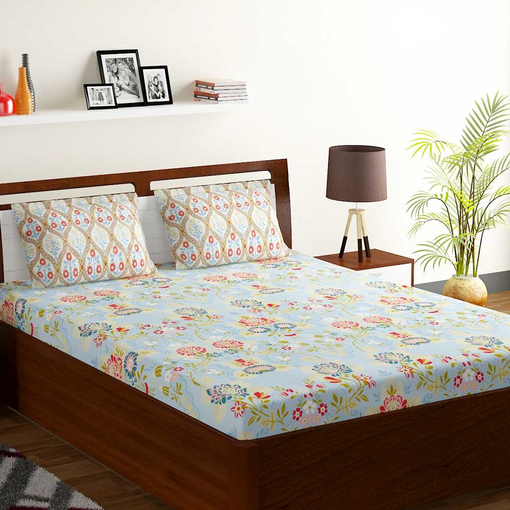 Bombay Dyeing Blue Colorful Floral 120 TC Cotton Double 1 Bedsheet With 2 Pillow Covers