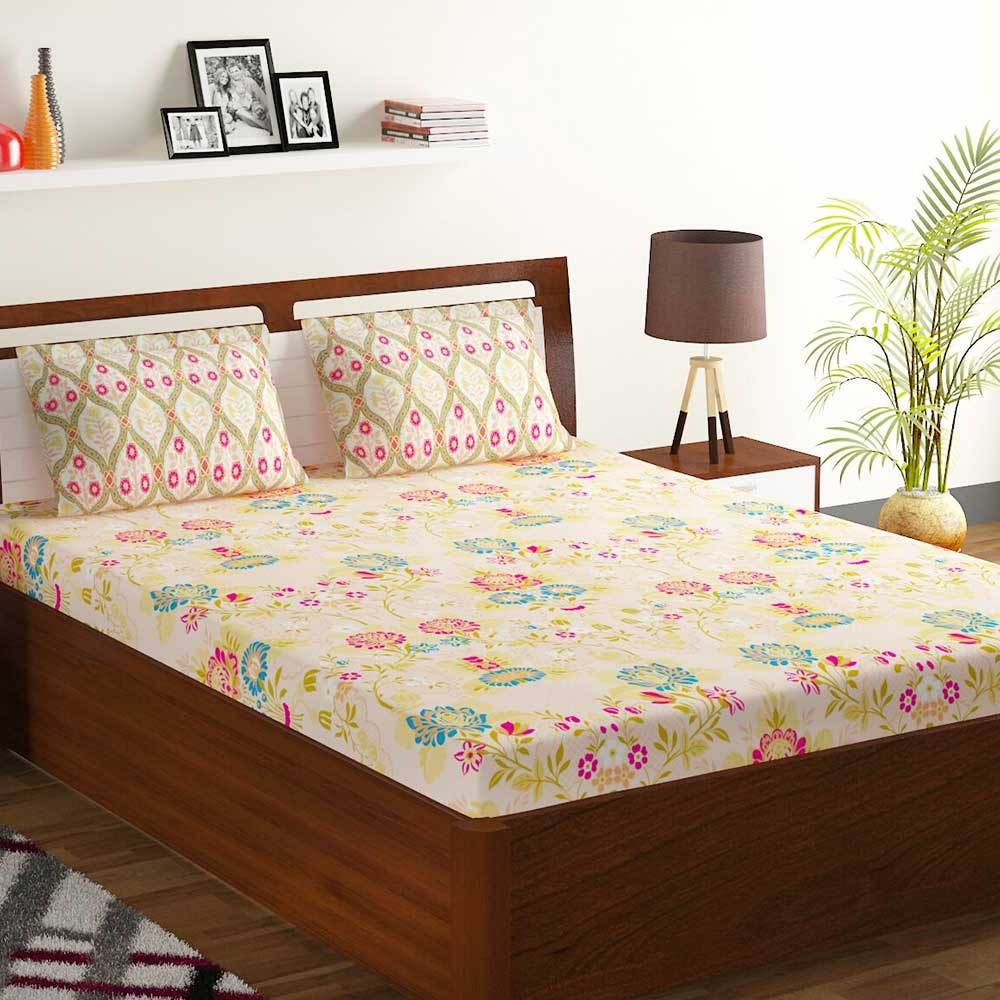 Bombay Dyeing Peach Colorful Floral 120 TC Cotton Double 1 Bedsheet With 2 Pillow Covers