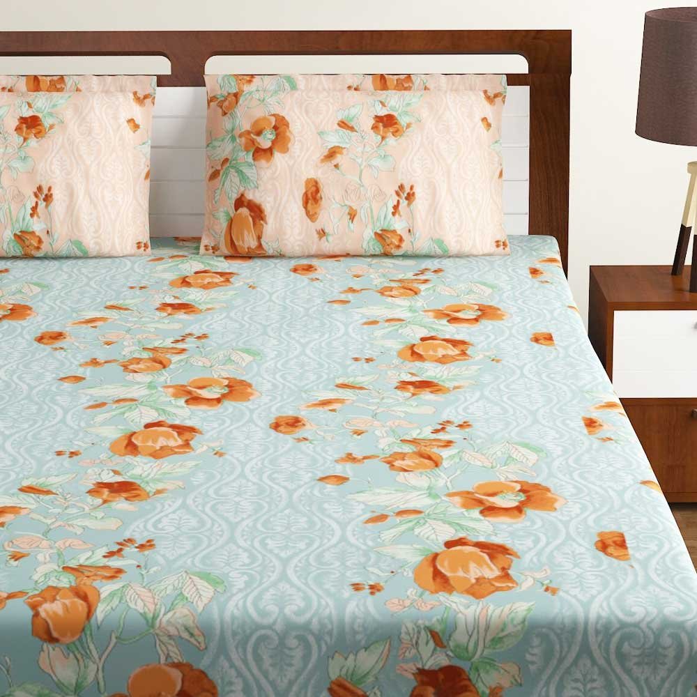 Bombay Dyeing Green Peach Floral 180 TC Cotton Double 1 Bedsheet With 2 Pillow Covers
