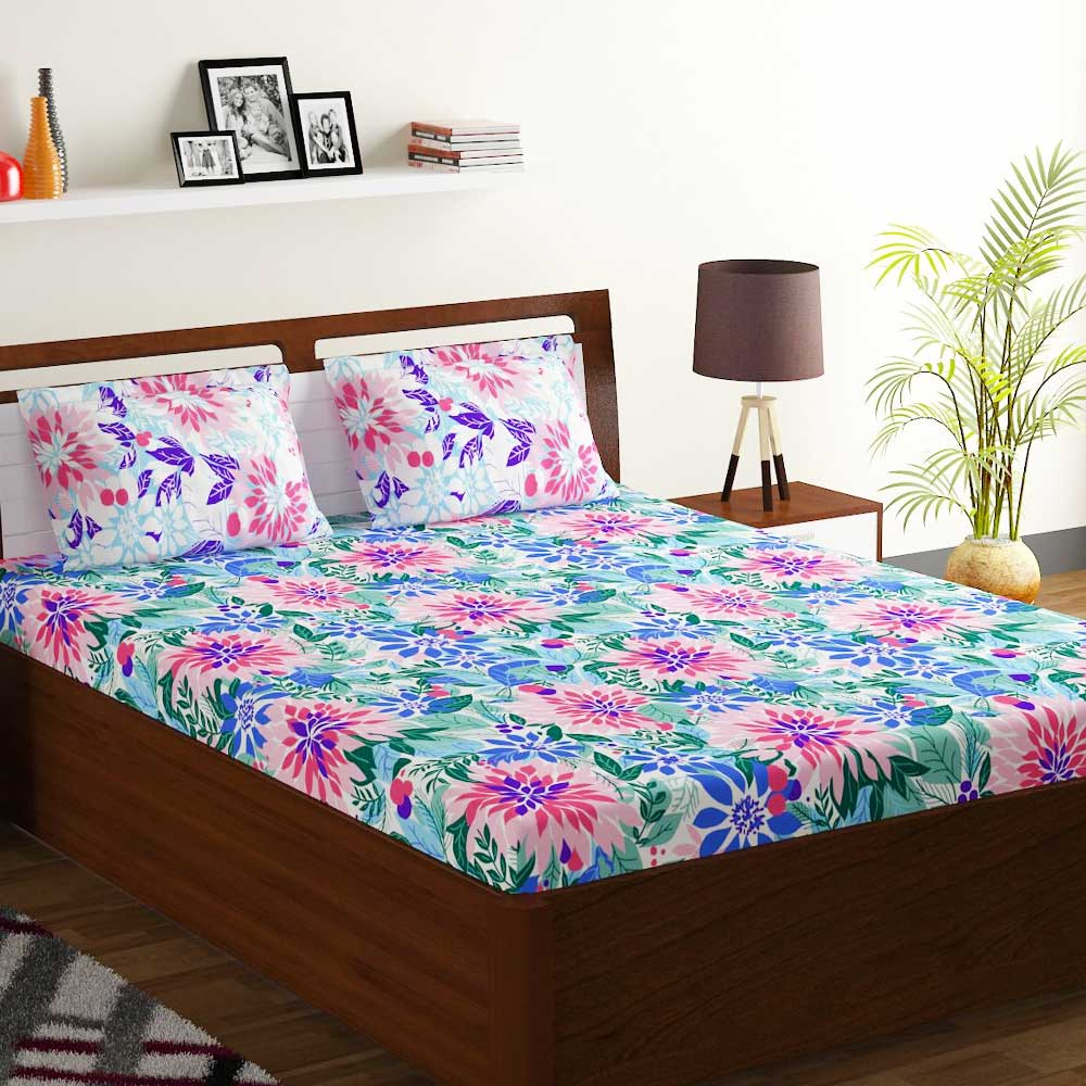 Bombay Dyeing Blue White Floral 180 TC Cotton Double 1 Bedsheet With 2 Pillow Covers