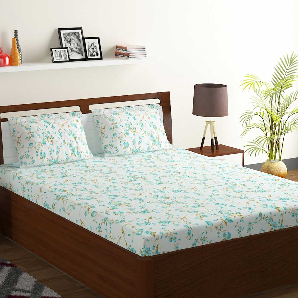 Bombay Dyeing Aqua Floral 180 TC Cotton Double 1 Bedsheet With 2 Pillow Covers