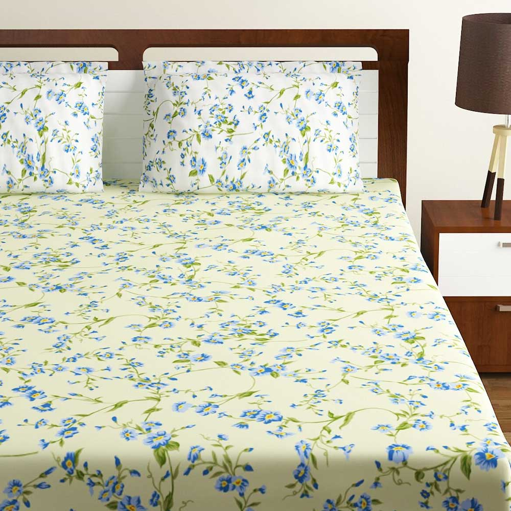 Bombay Dyeing Yellow Floral 180 TC Cotton Double 1 Bedsheet With 2 Pillow Covers