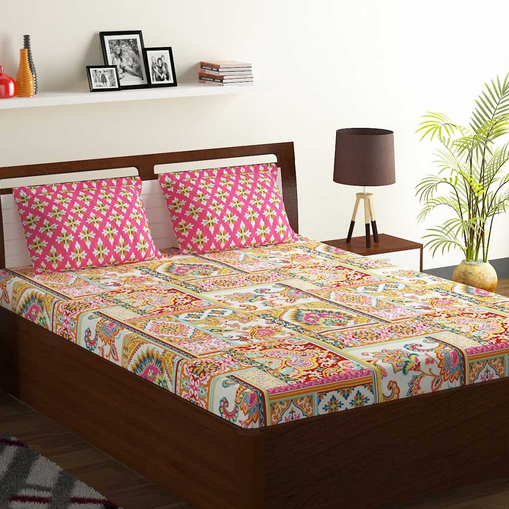 Bombay Dyeing Yellow Abstract Floral 180 TC Cotton Double 1 Bedsheet With 2 Pillow Covers