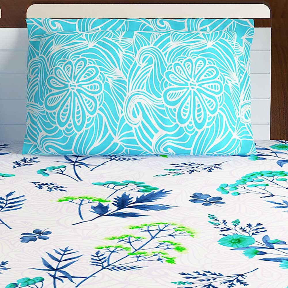 Bombay Dyeing BlueWhite Floral 180 TC Cotton Double 1 Bedsheet With 2 Pillow Covers