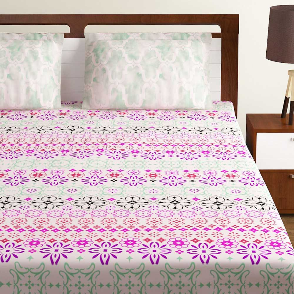 Bombay Dyeing Orange White  Floral 180 TC Cotton Double 1 Bedsheet With 2 Pillow Covers