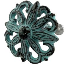 Antique Sage Green Floral Iron Cabinet Knobs