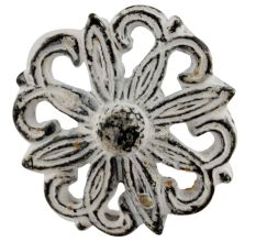 Antique White Floral Iron Cabinet Knobs