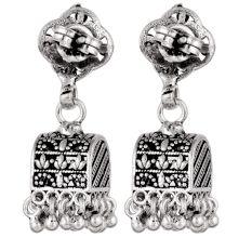 92.5 Silver Sterling Earrings  Ethnic Indian Floral Stud Jhumka Dangle Earrings