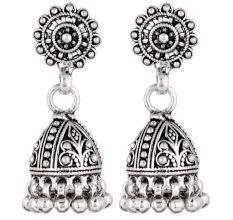 92.5 Sterling Silver Earrings Ethnic Indian Jhumka Dangle Earrings