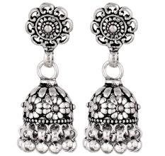 92.5 Sterling Silver Earrings Intricate Floral Stud  Traditional Jhumkies
