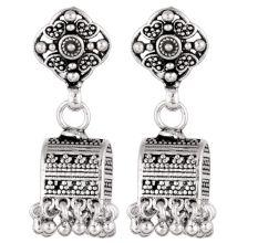 92.5 Sterling Silver Earrings Unusual Shape Floral Stud  Traditional Jhumkies