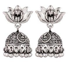 92.5 Sterling Silver Earrings Lotus Flower Stud Jhumkies