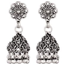 92.5 Solid Sterling Silver Earring Oxidize Rose Flower Design Jhumka Earring