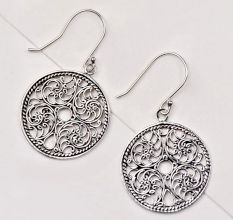 92.5 Sterling Silver Earrings Filigree Drop Round Hoop Cut Out Disc