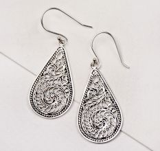 92.5 Silver Earrings Womens Design Collection Silver Scroll Teardrop Earrings