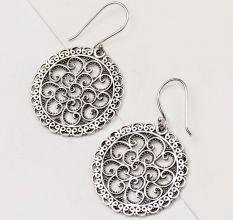92.5 Sterling Silver Earrings Dot and Scroll Dangle Earrings