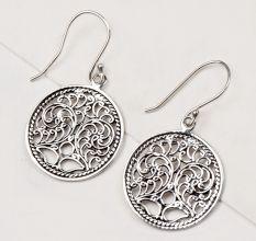 92.5 Sterling Silver Earrings Scrolled Engraved Circle Drop Earrings