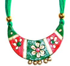 Handmade Terracotta Traditional Green Color Jewellery Sets