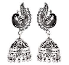 Peacock 92.5 Sterling Silver Earrings Engraved  Jhumkis