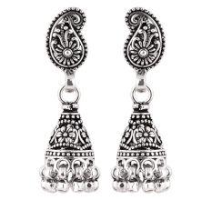 92.5 Sterling Silver Earrings  Silver Paisley Jhumka