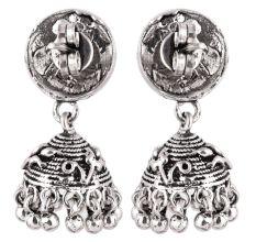 92.5 Sterling Silver Earrings Intricate Carved Peacock Stud Jhumkis