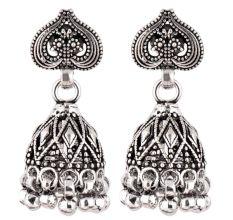 92.5 Sterling Silver Earrings Intricate Leaf Tribal Bell Dangle jhumkis