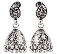 92.5 Sterling Silver Earrings Cocktail Paisley Stud  Jhumkis