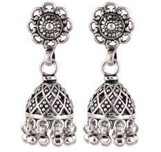 92.5  Sterling Silver Earrings Floral Jali Design Jhumkis