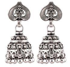 92.5 Sterling Silver Earrings Ethnic Daily Wear Jhumki Earrings