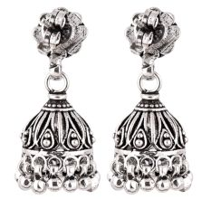 92.5 Sterling Traditional Floral Stud Earrings Jhumkis