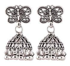 92.5 Sterling Silver Earrings Butterfly Stud Jhumkis Party Wear