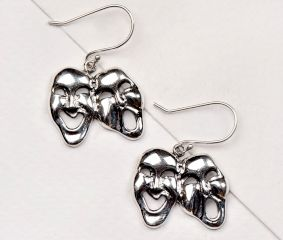 Theatre Mask 92.5 Sterling Silver Hanging Earrinngs