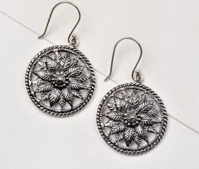 Round 92.5 Sterling Silver Dangle Earrings With Floral Filigree Work