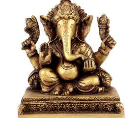 Handmade Brass Ganesha Statue With Pillows Blessing God Figurine