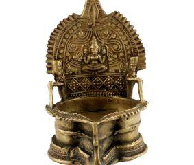 Handcrafted Brass Oil Lamp Big Heavy Brass Table Diya