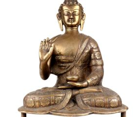 Brass Meditating Blessing Buddha With Kalash In One Hand