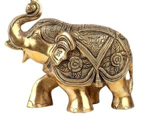 Brass Trunk Up Elephant Statue For Home Decoration