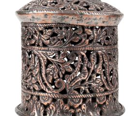 Copper Box With Lid Jali Cut Work Round Box