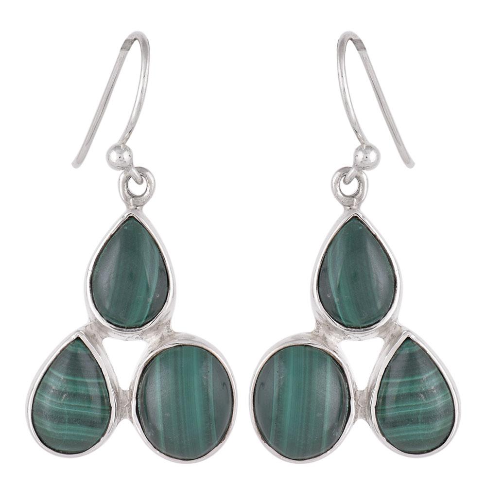 92.5 Sterling Silver Earings Three Studded Malachite Earrings