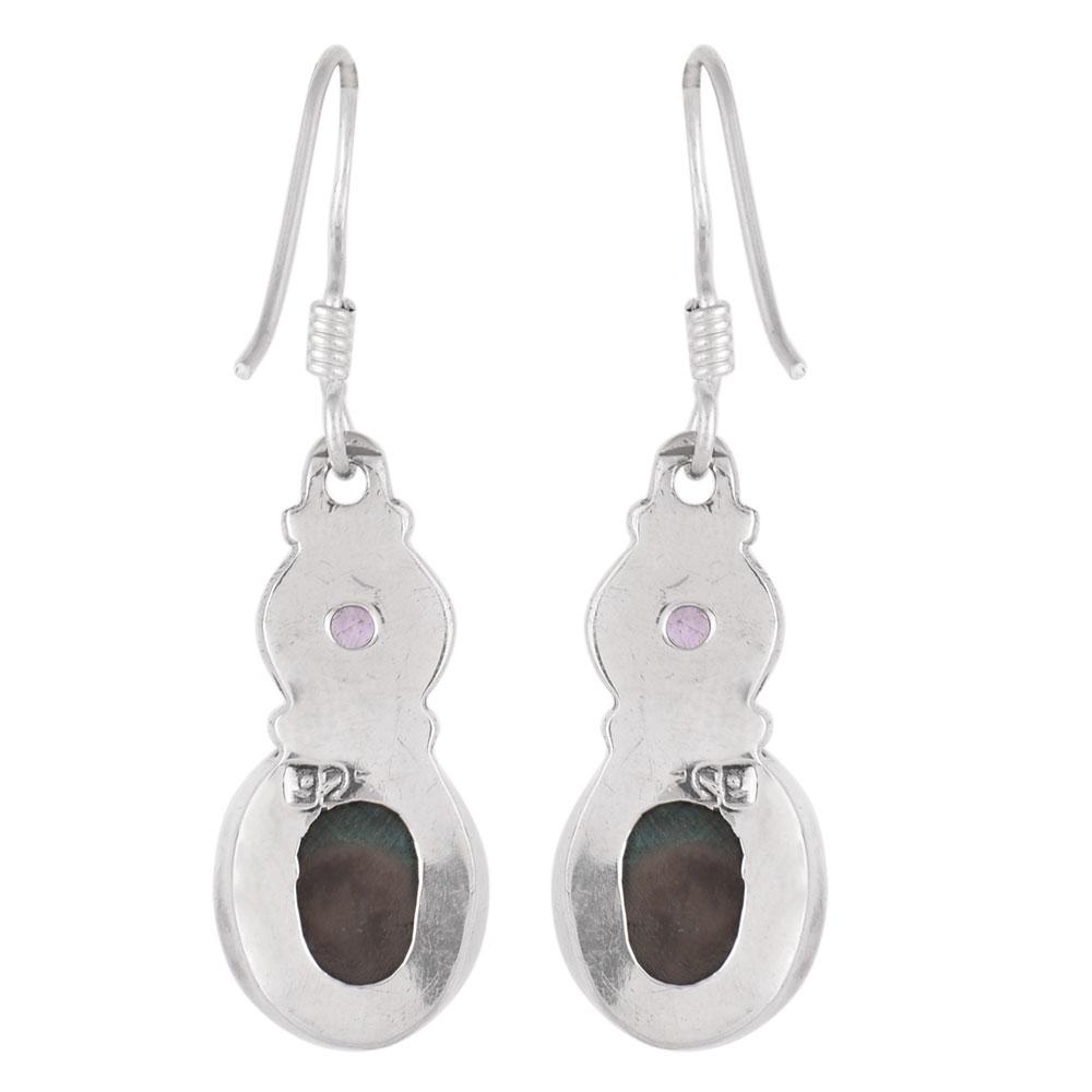 92.5 Sterling Silver Earings Tanzanite And  Malachite Earrings