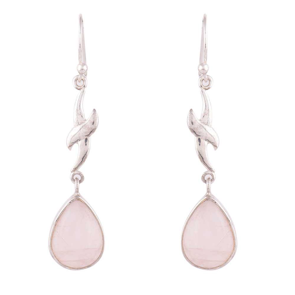 92.5 Sterling Silver Dangle Earrings Dolphin Rose Quartz  Earrings